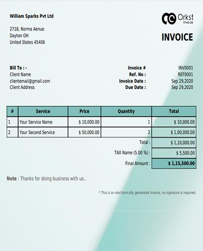 Create Free Invoice Template In dark green design @ Orkst Invoice Generator