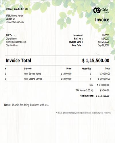 Create Free Invoice Template In green design @ Orkst Invoice Generator